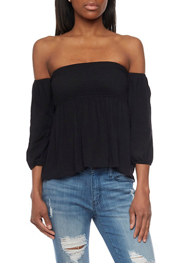 Off Shoulder Smocked 3/4 Sleeve Top,BLACK,large