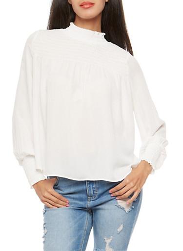 Smocked Peasant Top,WHITE,large