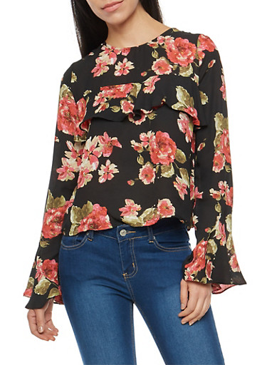 Floral Bell Sleeve Blouse with Ruffle Detail,BLACK,large