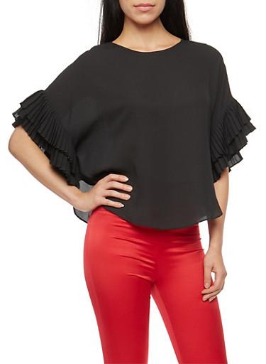 Pleated Dolman Sleeve Top,BLACK,large