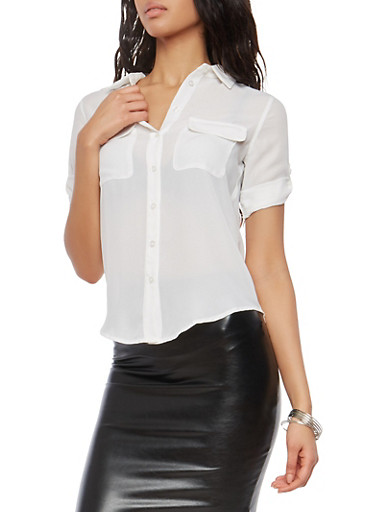 Sheer Button Front Shirt,WHITE,large