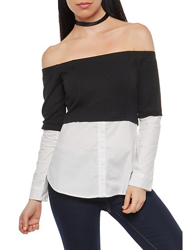 Off the Shoulder Two Tone Crepe Knit,BLACK/WHITE,large