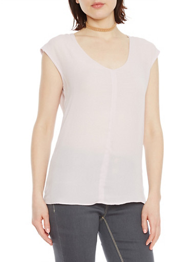 Chiffon Top with Scoop Neck,LAVENDER,large