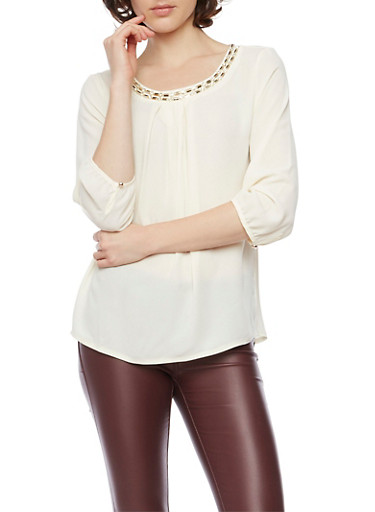 Jeweled 3/4 Sleeve Top with Pleats,IVORY,large