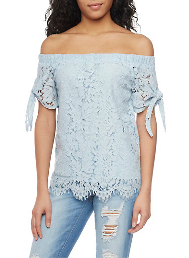 Off The Shoulder Lace Top with Tie Sleeves,LIGHT BLUE,large