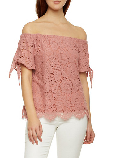 Off The Shoulder Top in Lace with Sleeves Ties,MAUVE,large