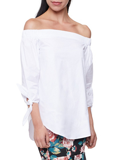 Off the Shoulder Top with Tie Sleeves,WHITE,large