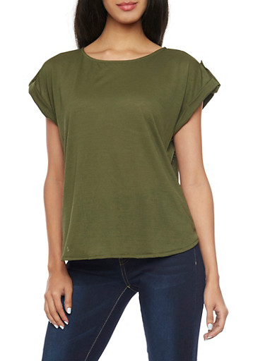 Short Sleeve Top with Button Tabs,OLIVE,large