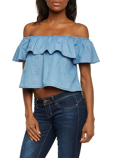 Off the Shoulder Crop Top in Chambray,BLUE,large
