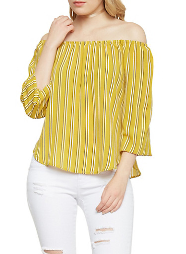 3/4 Sleeve Striped Off the Shoulder Top,MUSTARD,large