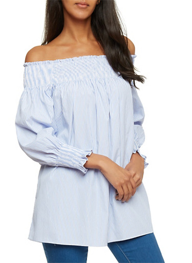 Smocked Off the Shoulder Striped Long Sleeve Top,BLUE LT,large