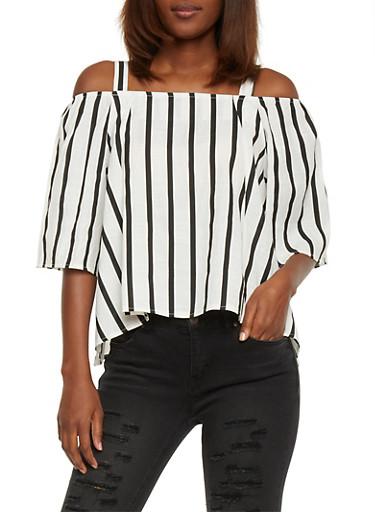 Striped Cold Shoulder Top,WHT-BLK,large