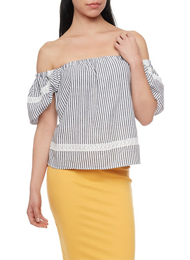 Striped Off the Shoulder Peasant Top,BLACK/WHITE,large