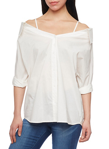 Collared Cold Shoulder Button Down Top,WHITE,large