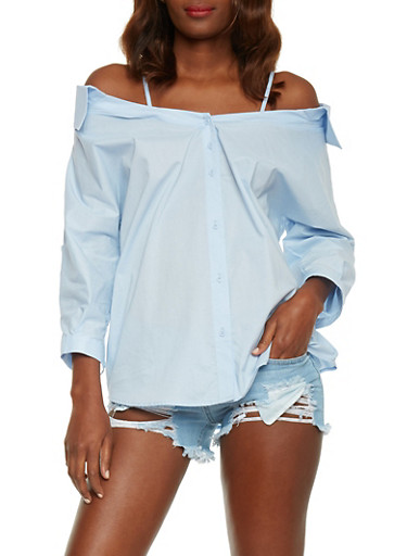 Collared Cold Shoulder Button Down Top,BLUE LT,large