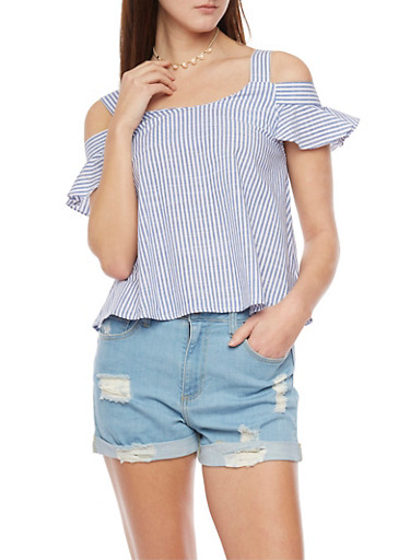 Striped Cold Shoulder Top with Flutter Sleeves,BLUE,large
