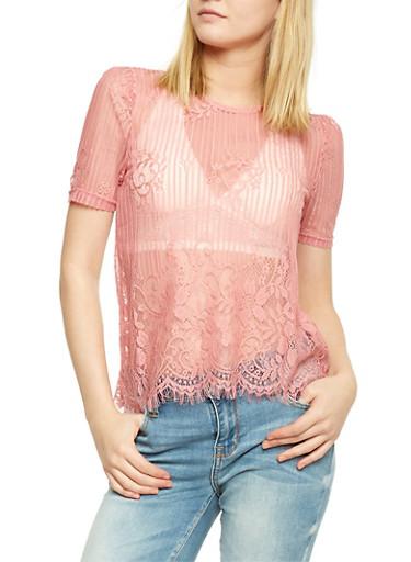 Short Sleeve Mixed Lace Top with Frayed Hem,MAUVE,large