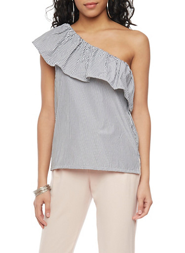 Striped One Shoulder Top,GRAY,large