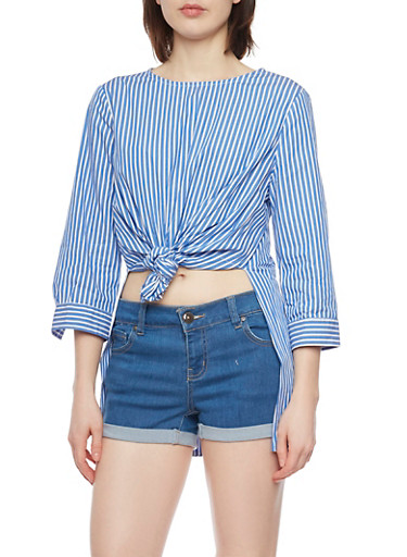 Striped Tie Front Tunic Top with High Low Hem,BLUE LT,large