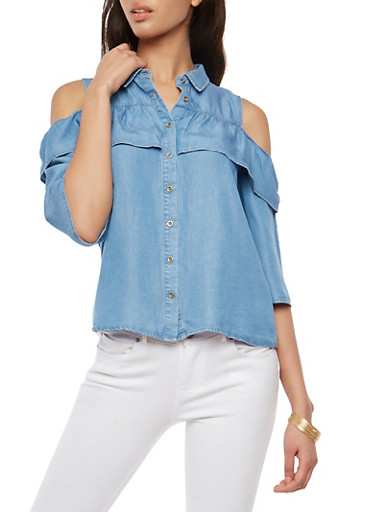 Ruffle Cold Shoulder Button Front Denim Top,MEDIUM WASH,large