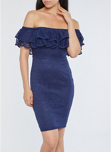 Tiered Lace Off the Shoulder Bodycon Dress,NAVY,large