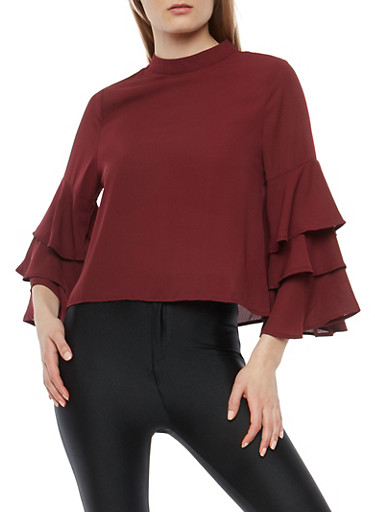 Tiered Bell Sleeve Blouse,PLUM,large