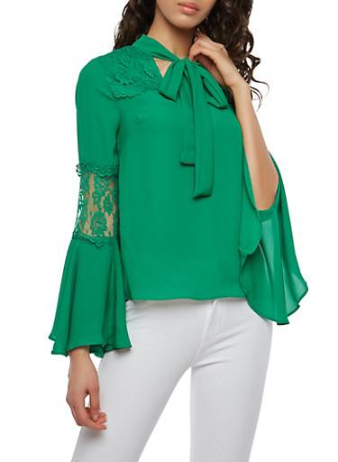 Lace Detail Tie Neck Blouse,GREEN,large