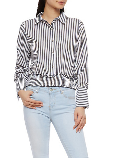 Striped Smocked Waist Top,BLACK/WHITE,large