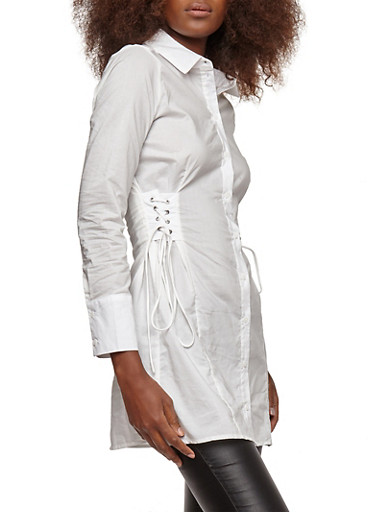 Side Lace Up Button Front Tunic Top,WHITE,large