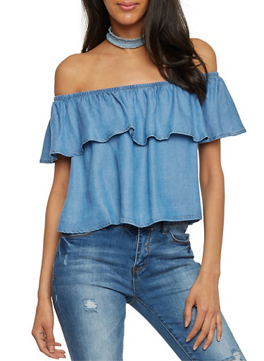 Ruffled Off the Shoulder Chambray Top,DENIM,large