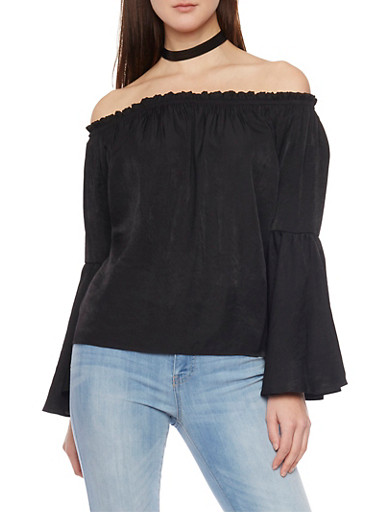 Off The Shoulder Top with Long Bell Sleeves,BLACK,large