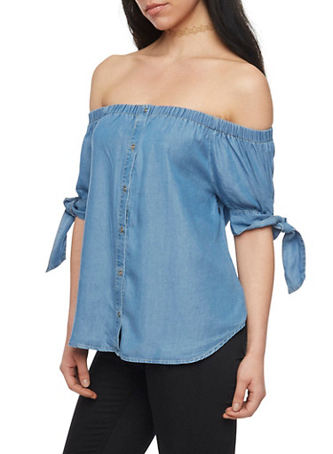 Off the Shoulder Denim Button Front Top with Tie Sleeves,MEDIUM WASH,large