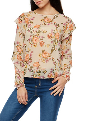Ruffle Sleeve Floral Chiffon Top,TAUPE,large