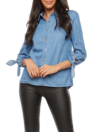 Chambray Button Front Shirt,BLUE,large