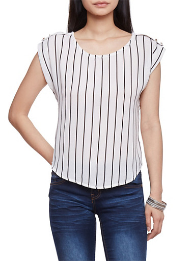 Striped Crepe Top with Faux Button Tabs,WHT-BLK,large