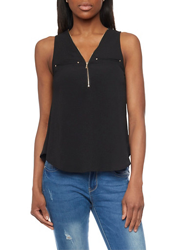 Crepe Knit Sleeveless Top with Zippered V Neck,BLACK,large