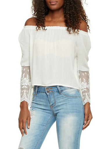 Off the Shoulder Peasant Top with Lace Sleeves,IVORY,large