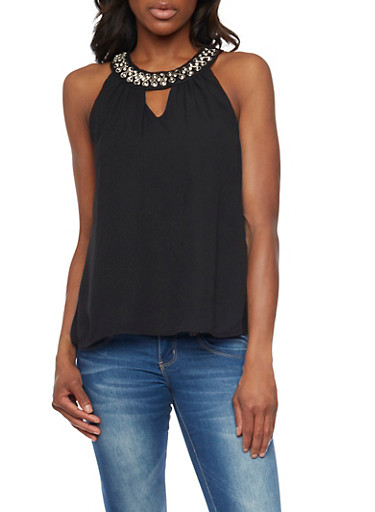 Cutout Chiffon Tank Top with Jewel Neckline,BLACK,large