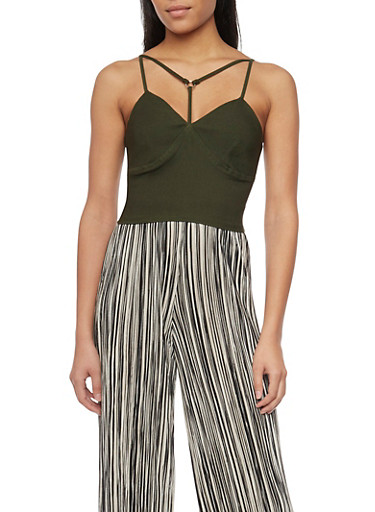 Strappy Sleeveless Crop Top with Zip Back,OLIVE,large
