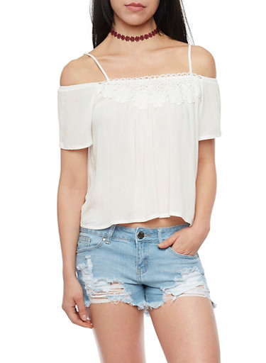 Cold Shoulder Top with Crochet Detail Yoke,WHITE,large