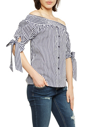 Striped Off the Shoulder Top with Buttons,NAVY,large