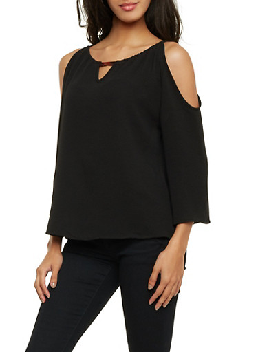 Cold Shoulder Top with Metallic Bar Accent,BLACK,large