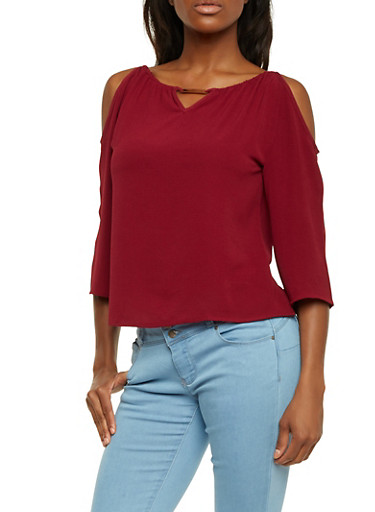 Cold Shoulder Top with Metallic Bar Accent,WINE,large