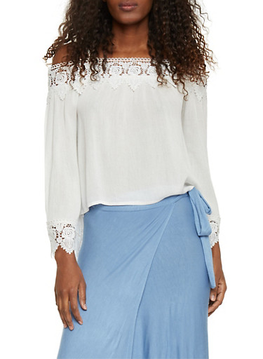 Off The Shoulder Lace Trim Peasant Blouse,WHITE,large