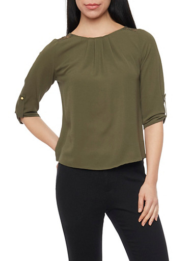 3/4 Sleeve Crepe Top with Back Lace Panel,OLIVE,large