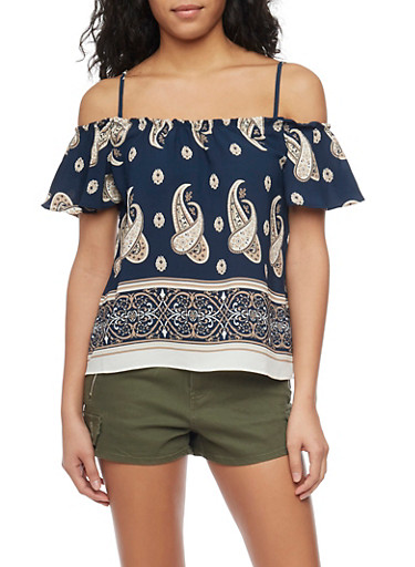 Crepe Cold Shoulder Paisley Top with Flutter Sleeves,NAVY,large