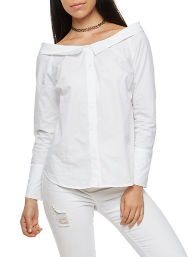 Off the Shoulder Button Front Top,WHITE,large