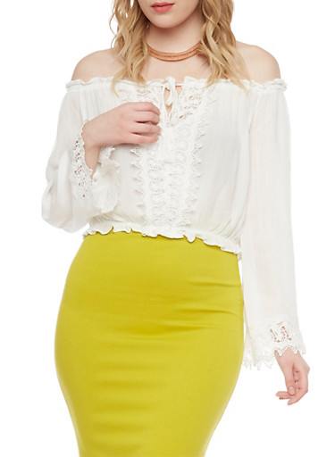 Off the Shoulder Long Sleeve Crop Top,WHITE,large