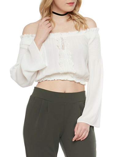 Long Sleeve Off The Shoulder Crop Top with Crochet Details,WHITE,large