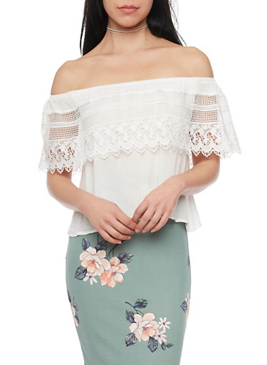 Crochet Overlay Crepe Knit Off The Shoulder Top,WHITE,large